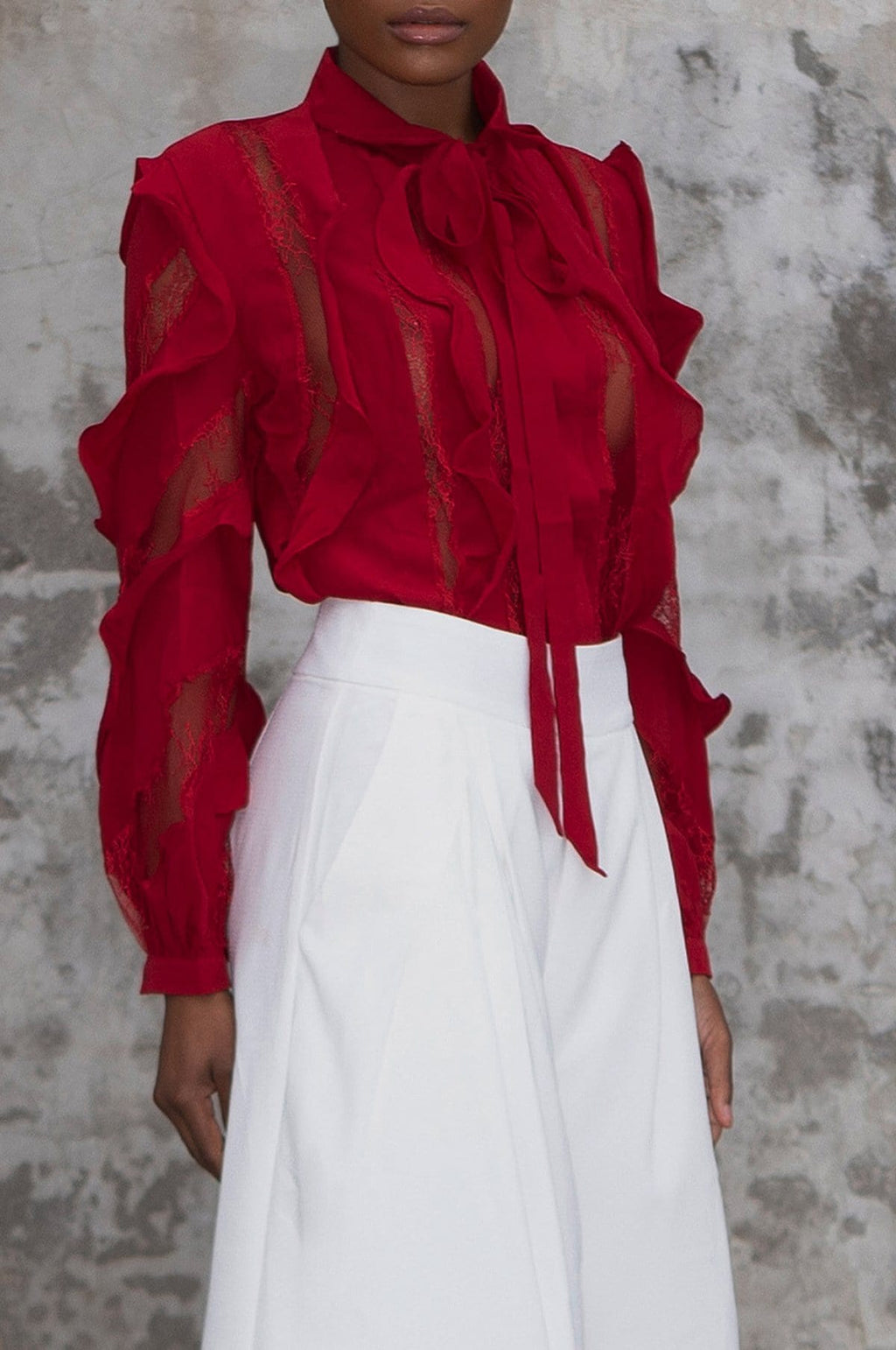 'Beverly' Sheer Ruffled Blouse