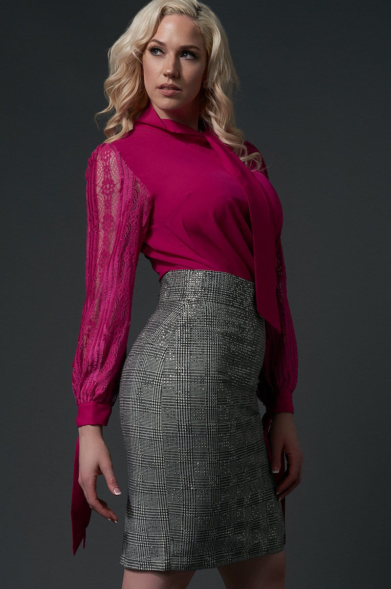 'Phoebe' Lace Sleeve Tie-Neck Shirt