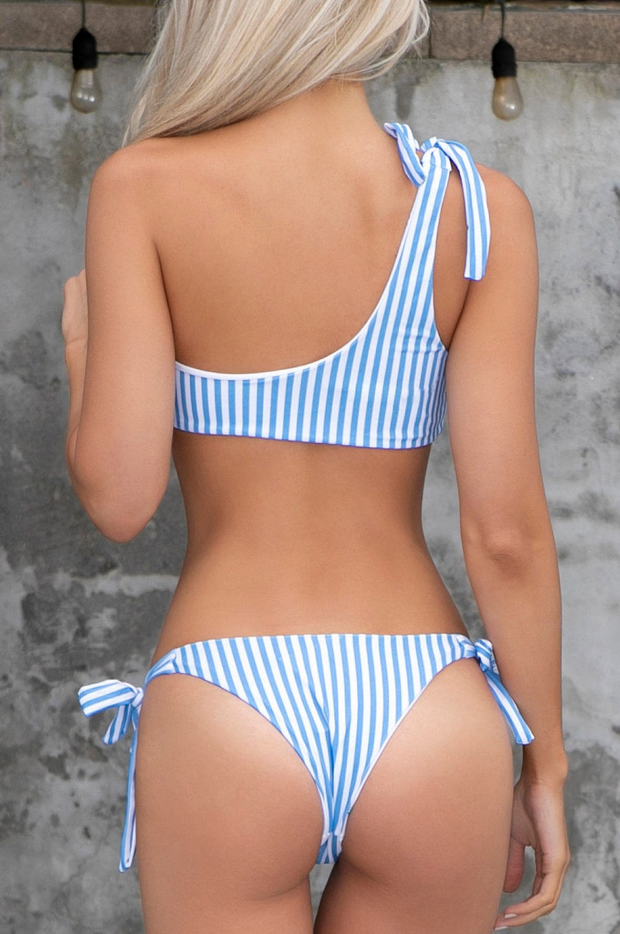 'Skyler' One Shoulder Striped Bikini Set