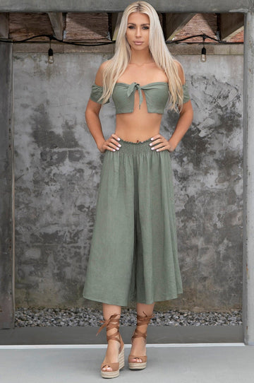 'Adriana' Crop Top & Pants Set