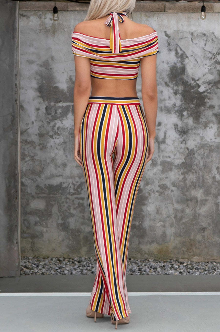 'Zahara' Striped Crop Top & Pants Set