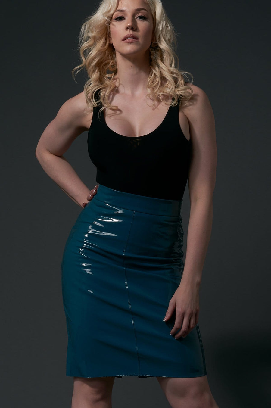 'Harlee' Vinyl Pencil Skirt