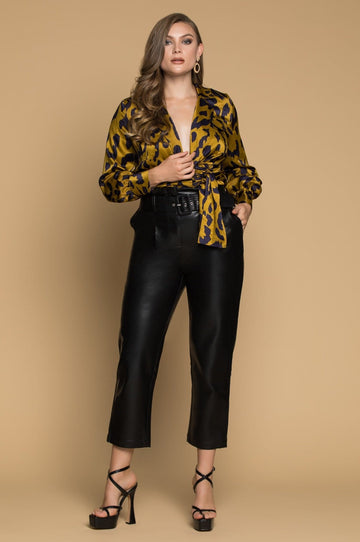 'Geneva' Faux Leather Crop Pants
