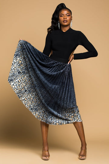 'Francis' Pleated Midi Skirt
