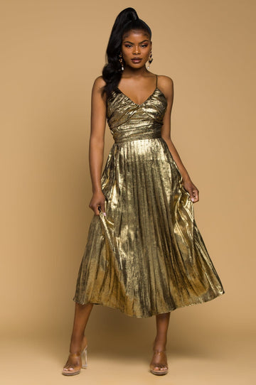'Alissa' Gold Lame Midi Dress