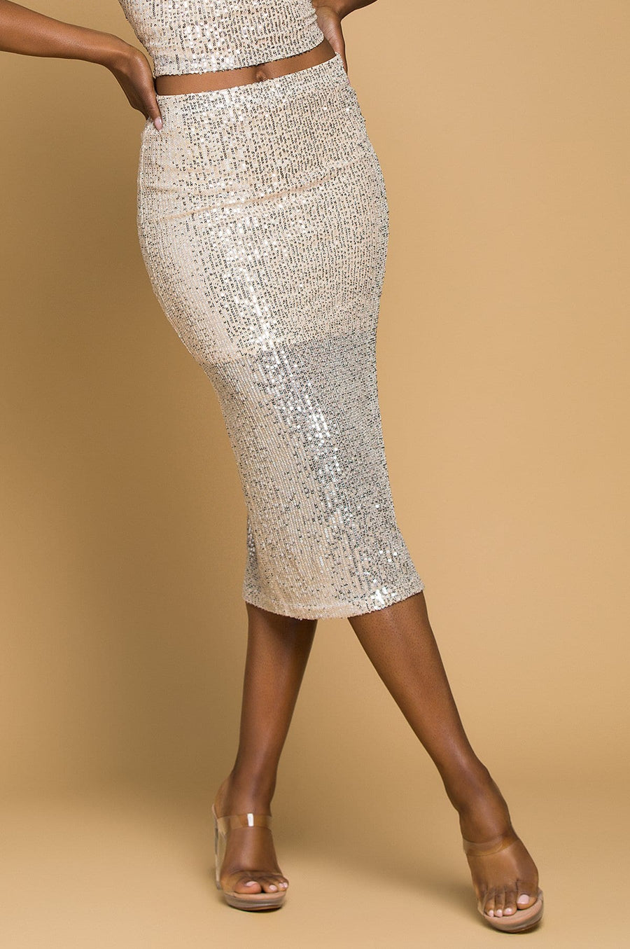 'Olivia' Sequin Midi Skirt