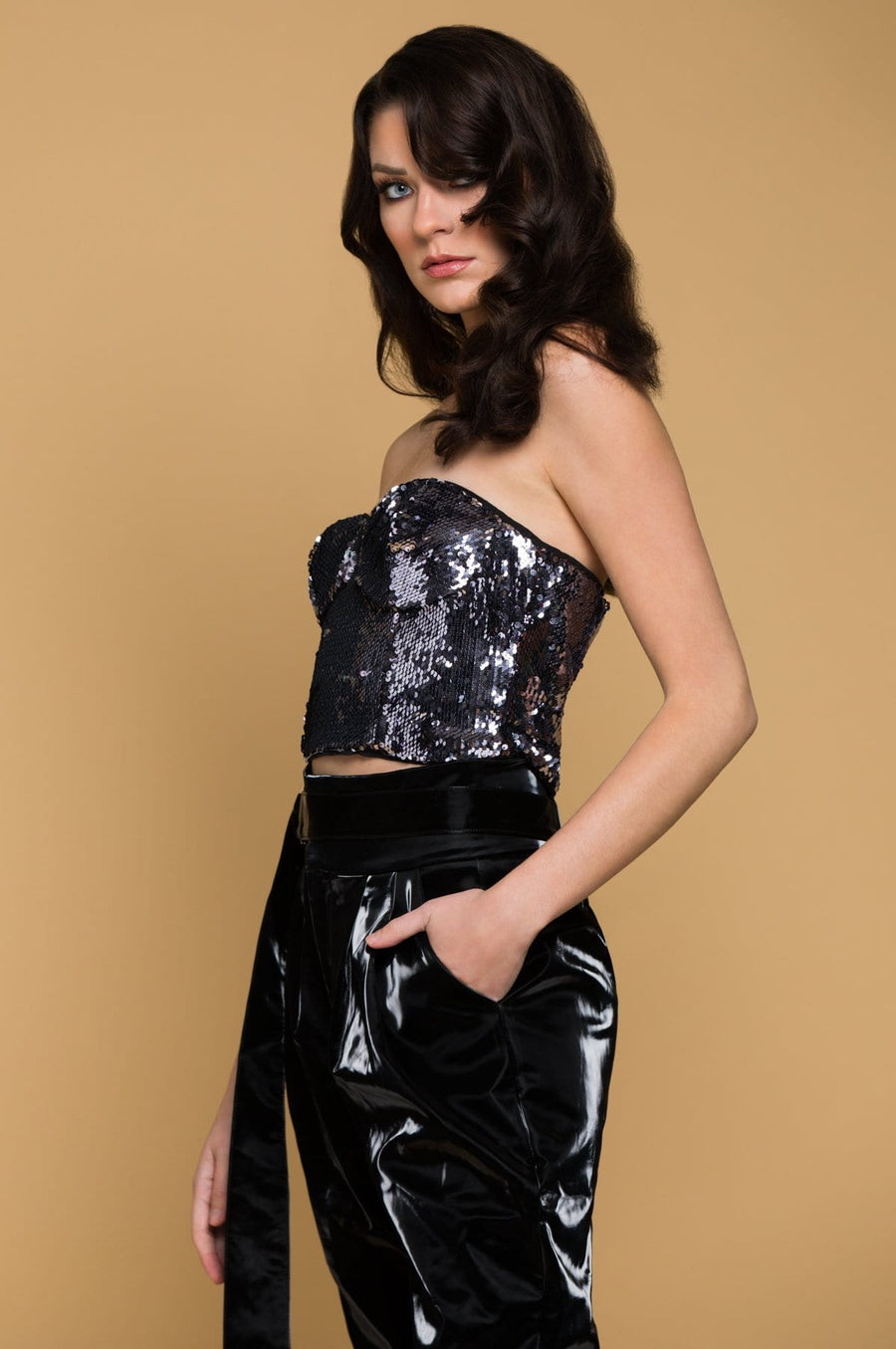 'Jamie' Sequin Strapless Crop Top