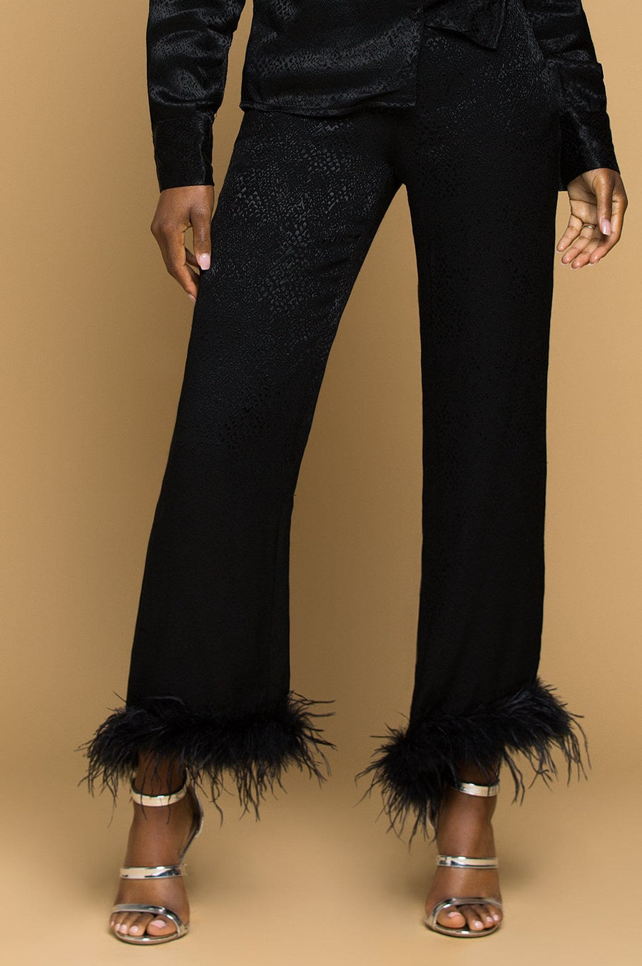 'Malika' Feather Trim Pants