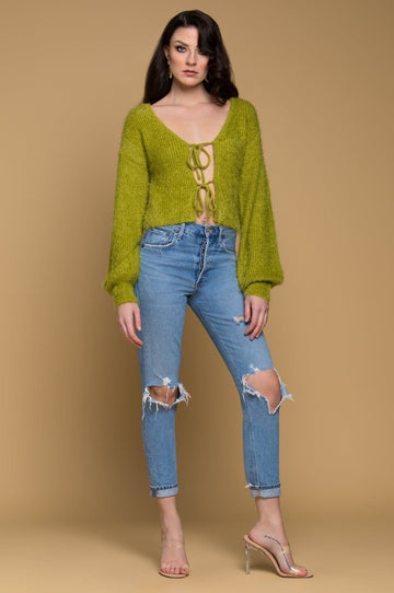 'Tina' Tie-Front Cropped Cardigan