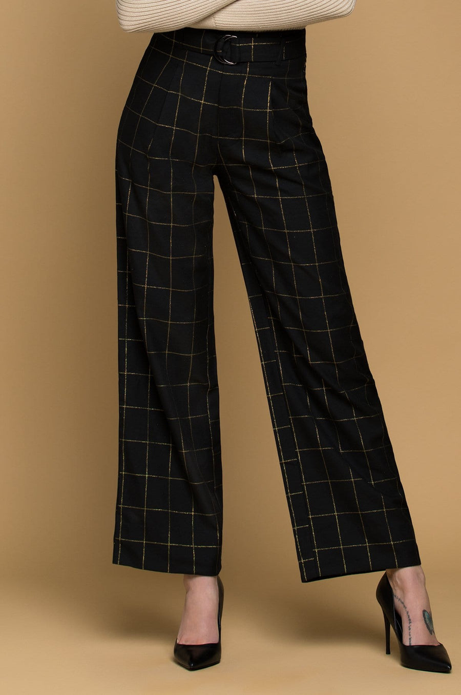 'Leonna' High Waisted Plaid Trousers