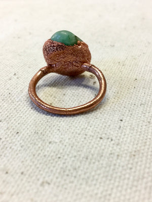 Emerald Electroformed Copper Ring