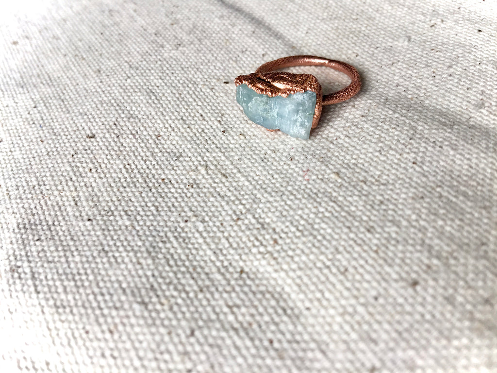 Aquamarine Copper Electroformed Ring Stacker Statement Healing Crystal