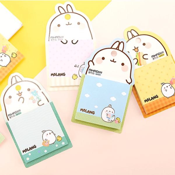 Molang Rabbit Sticky Notes Adhesive Memo pad Notepad