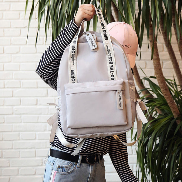 Casual Korean Style Nylon Backpack | School Bag