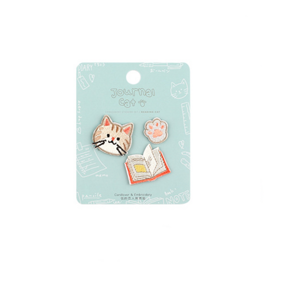 Embroidered Journaling Cat Stickers