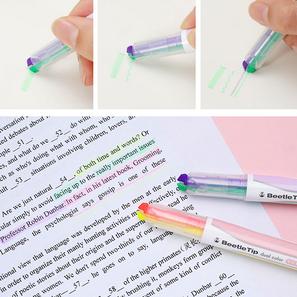 KOKUYO Beetle Tip Dual Color Highlighter