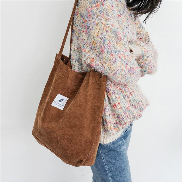 Korean Style Corduroy Tote Bag for Women Female