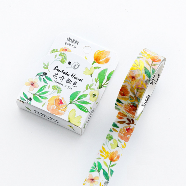 Floral Gold Foil Washi Tapes