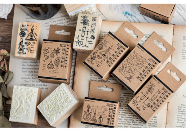 Science Lab Wooden Rubber Stamps for Scrapbooking  DIY and Bullet journaling