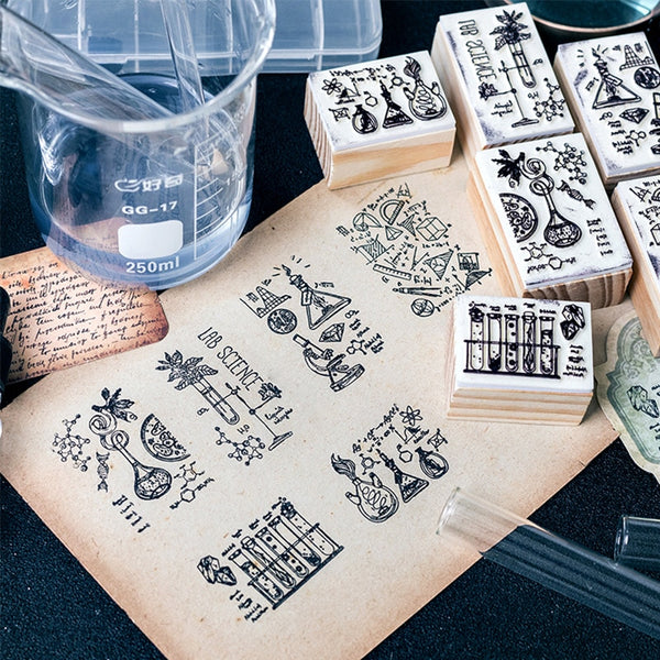 Science Lab Wooden Rubber Stamps for Scrapbook Journal Diary Notebook or Planner