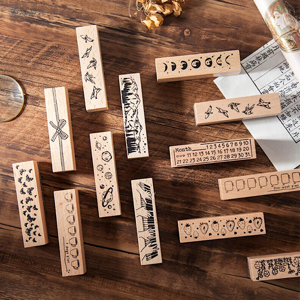 Slim Vintage Decorative Wooden Stamps