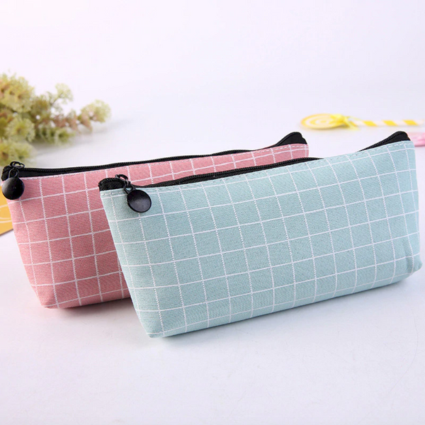 Squared Pattern Canvas Pencil Case