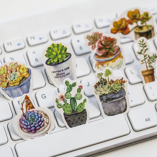 Succulents Stickers DIY Decorative Notebook Stickers For Diary Scrapbooking Paper Children's Stickers Gift