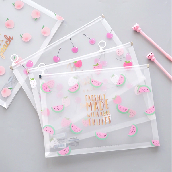 Fruit Print Transparent Zipper Pouch File Folder Document Bag