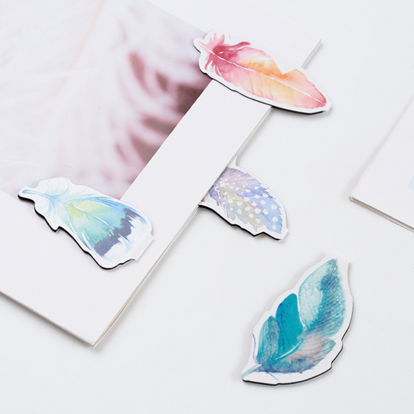 Watercolor Feather Magnetic Bookmark 2