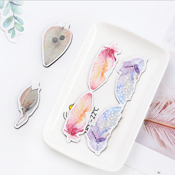 Watercolor Feather Magnetic Bookmark 4