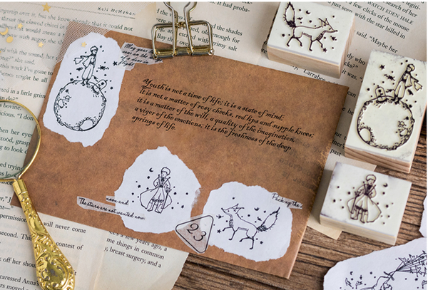 Vintage Little Prince Wooden Rubber Stamps for Scrapbooking
