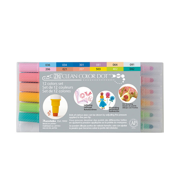 Kuretake ZIG Clean Color Dot Dual Tip Marker  - 12 Color Set