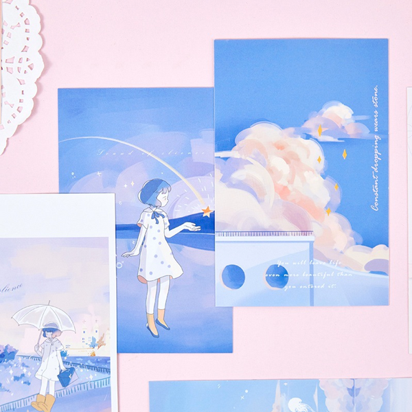 Girl in The Clouds Greeting Cards