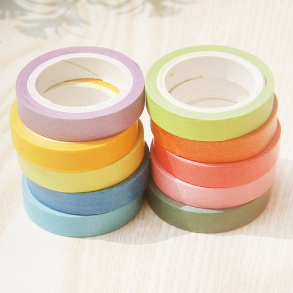 10 Psc Candy Color Decorative Adhesive Tapes 5