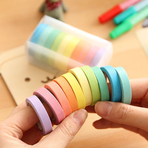 10 Psc Candy Color Decorative Adhesive Tapes 2
