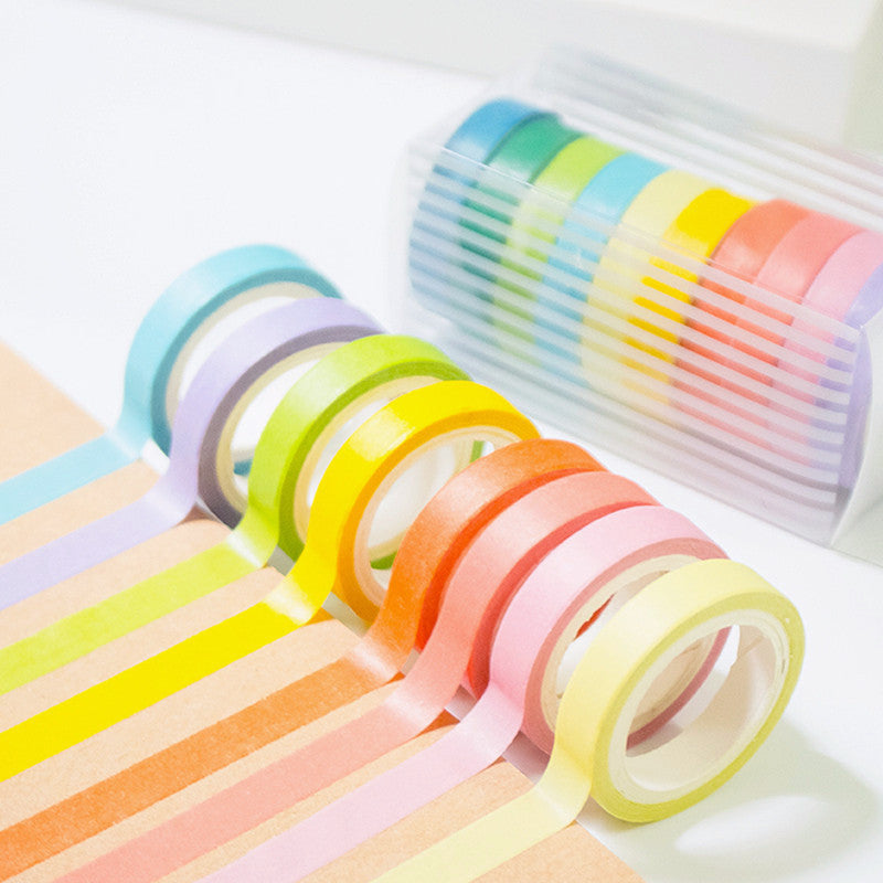10 Psc Candy Color Decorative Adhesive Tapes