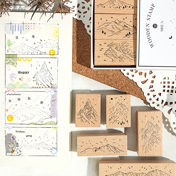 Mountain Landscape Wooden Stamps