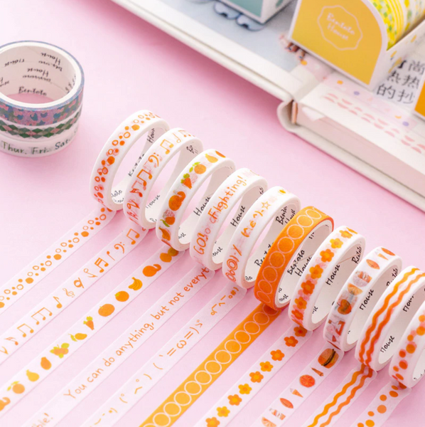 Colorful Patterned Washi Tape Slim Adhesive Masking Tape Set