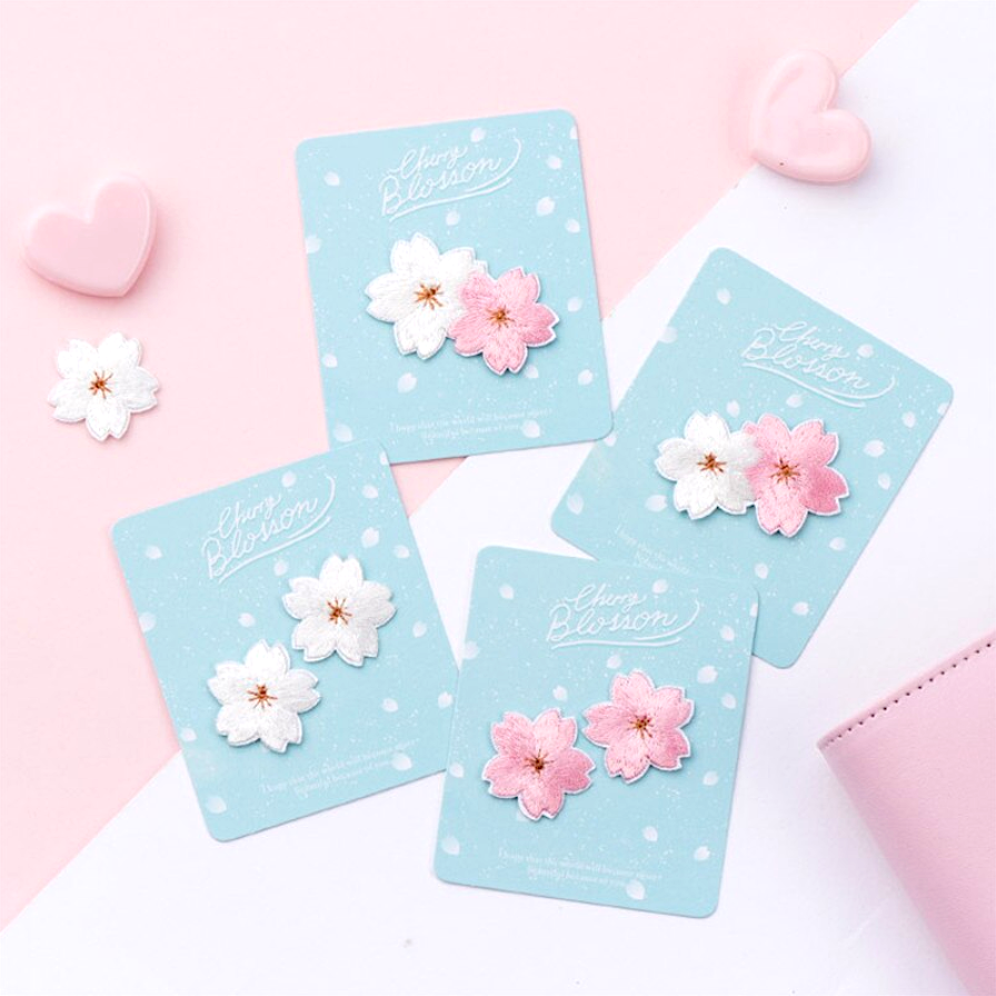 Embroidered Cherry Blossom Stickers