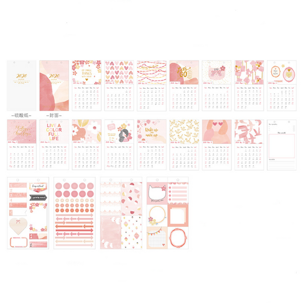 2020 Watercolor Patterns Desk Calendar - Pink