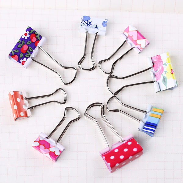 Cute Pattern Metal Binder Clips 6-Pack