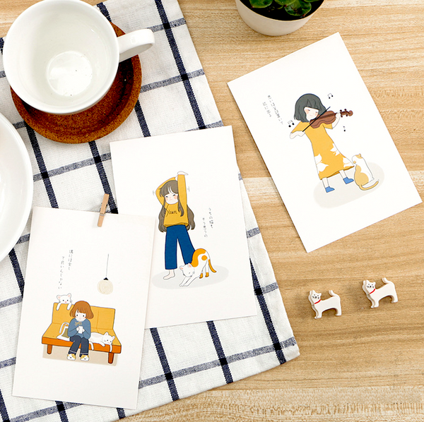 My Life with a Cat Cute Animated Illustrated Greeting Cards | Post Cards