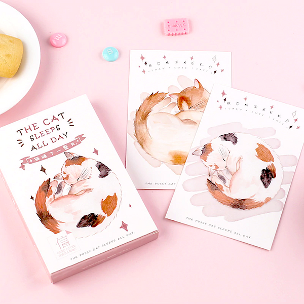 Sleepy Neko Greeting Cards