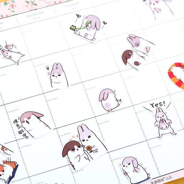 Chubby Rabbit Stickers Set