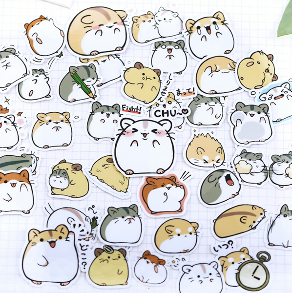38 Pcs Kawaii Japanese Hamster Stickers