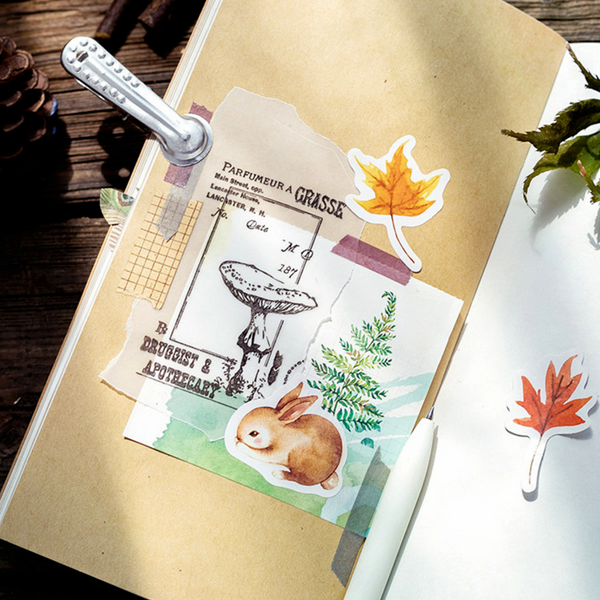 Watercolor Autumn Forest Paper Stickers for Scrapbooking DIY and Bullet Journaling
