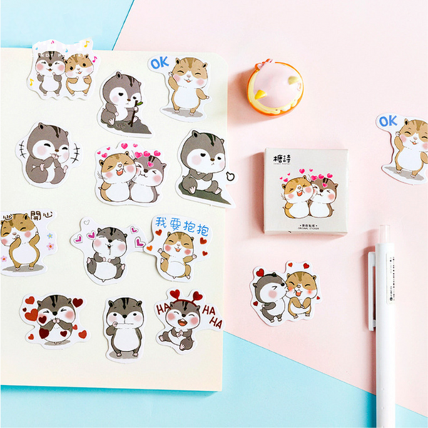 Cute Chipmunk Litter Stickers DIY Decorative Sealing Paste Stick Label School Office Supply Stationery