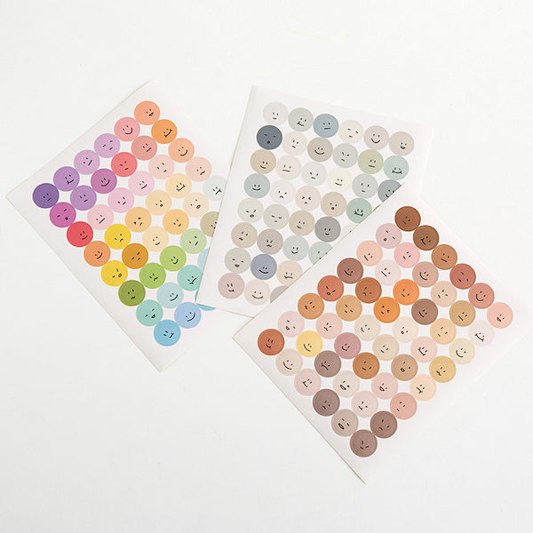 Colorful Emoji Dot Stickers - Brown