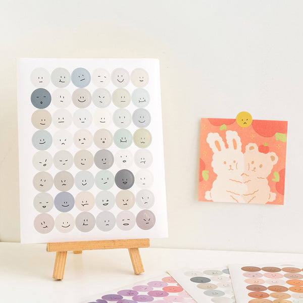 Colorful Emoji Dot Stickers - Gray