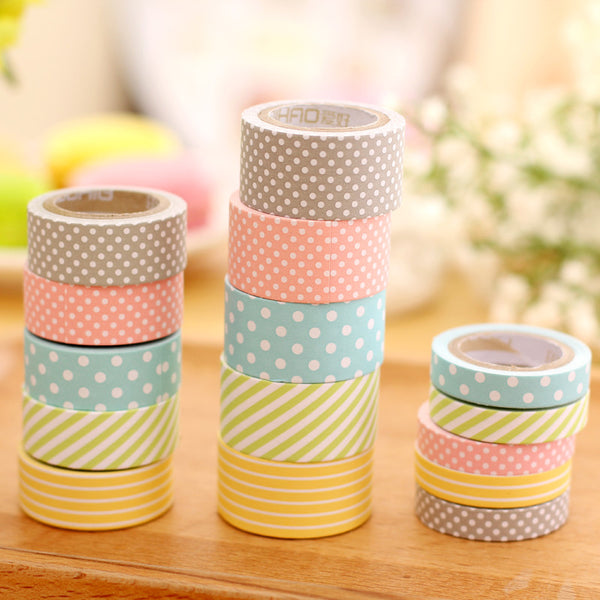 cute pattern paper washi tape 5 pack kawaii pen shop. Black Bedroom Furniture Sets. Home Design Ideas